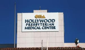 The sign of the Hollywood Presbyterian Medical Center is pictured in Los Angeles